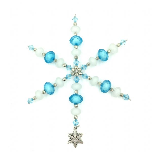 Snowflake kit ( 4.5 inches)  - blue - white  with snowflake charm- ac002 - makes 7 pieces £1.14 each